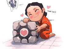 Chell hugging the weighted companion cube
