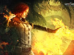 Triss shooting a fireball